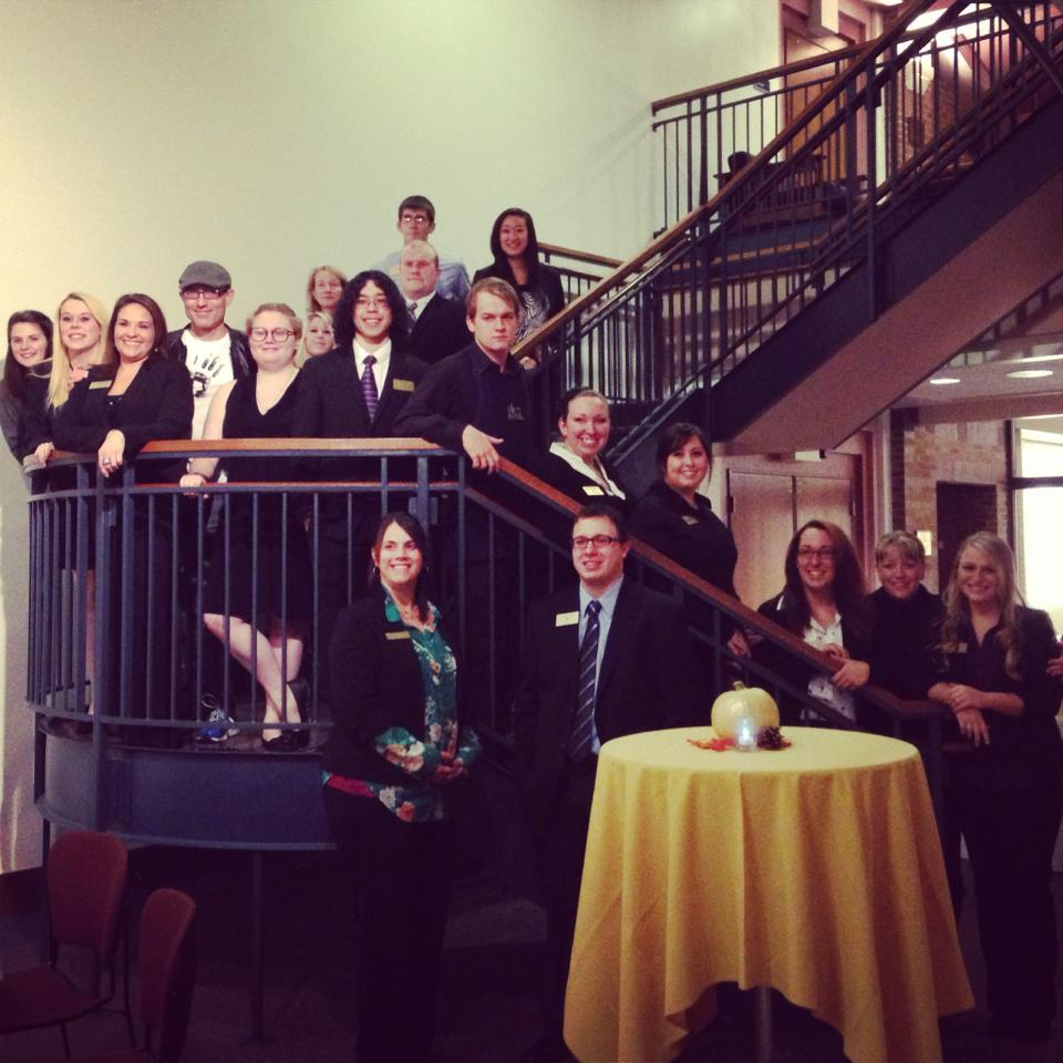 Here I am with the three Hospitality Management classes, who planned The Big Cheese, just before the event started.