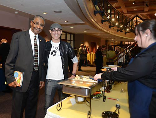 Here I am again with superCOOL Pitt-Bradford President Livingston Alexander enjoying more cheesy-licious dishes! (Photo by Francie Long)