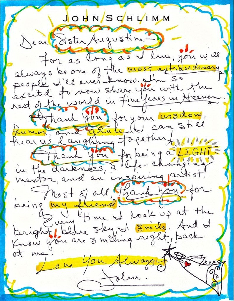 LETTER handwritten 300dpi to Sister Augustine - Thank A Nun Day