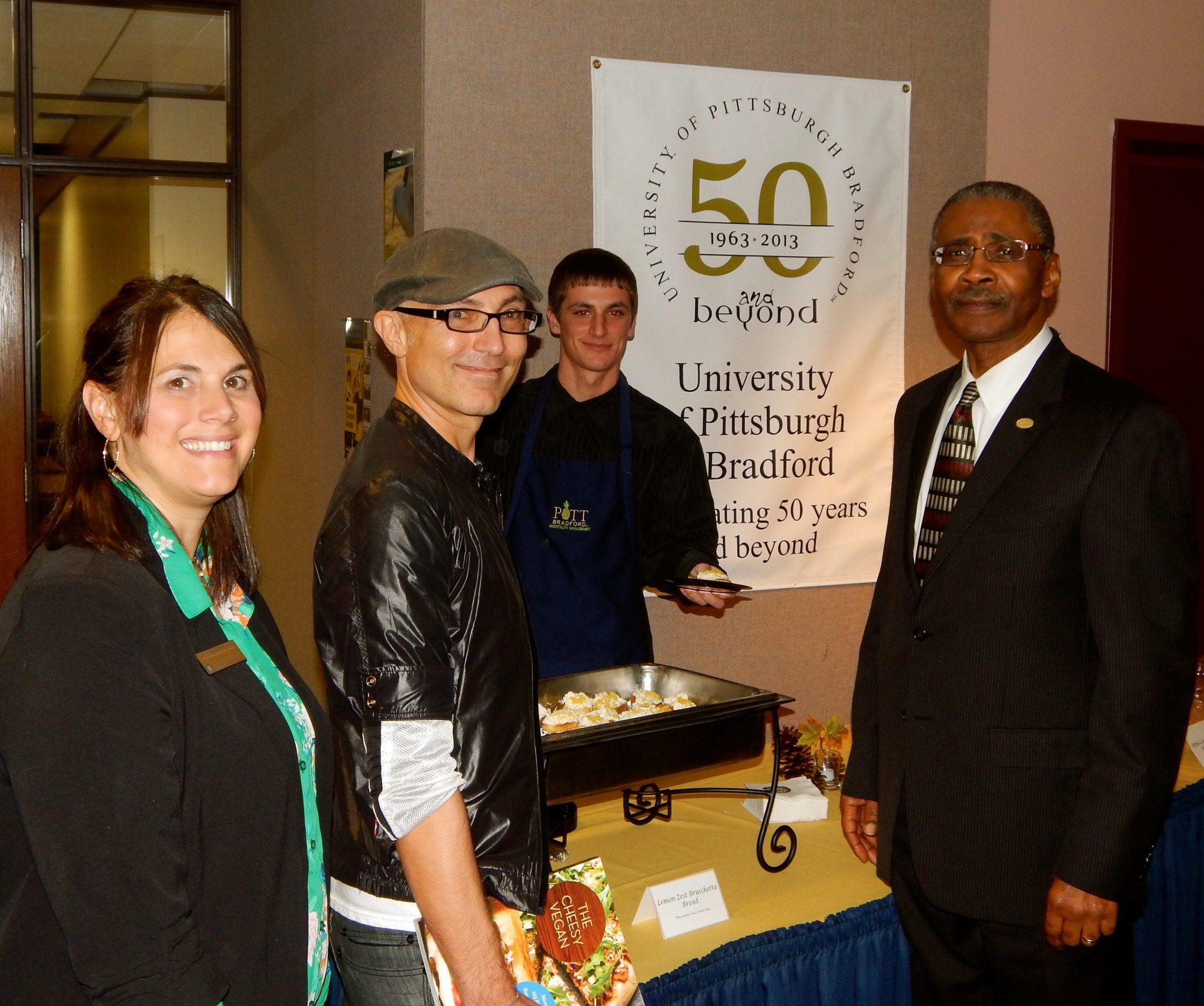 Here I am enjoying the Cheesy Vegan buffet prepared by the Hospitality Management Program students with Professor Jennifer Forney and University of Pittsburgh at Bradford President, Dr. Livingston Alexander