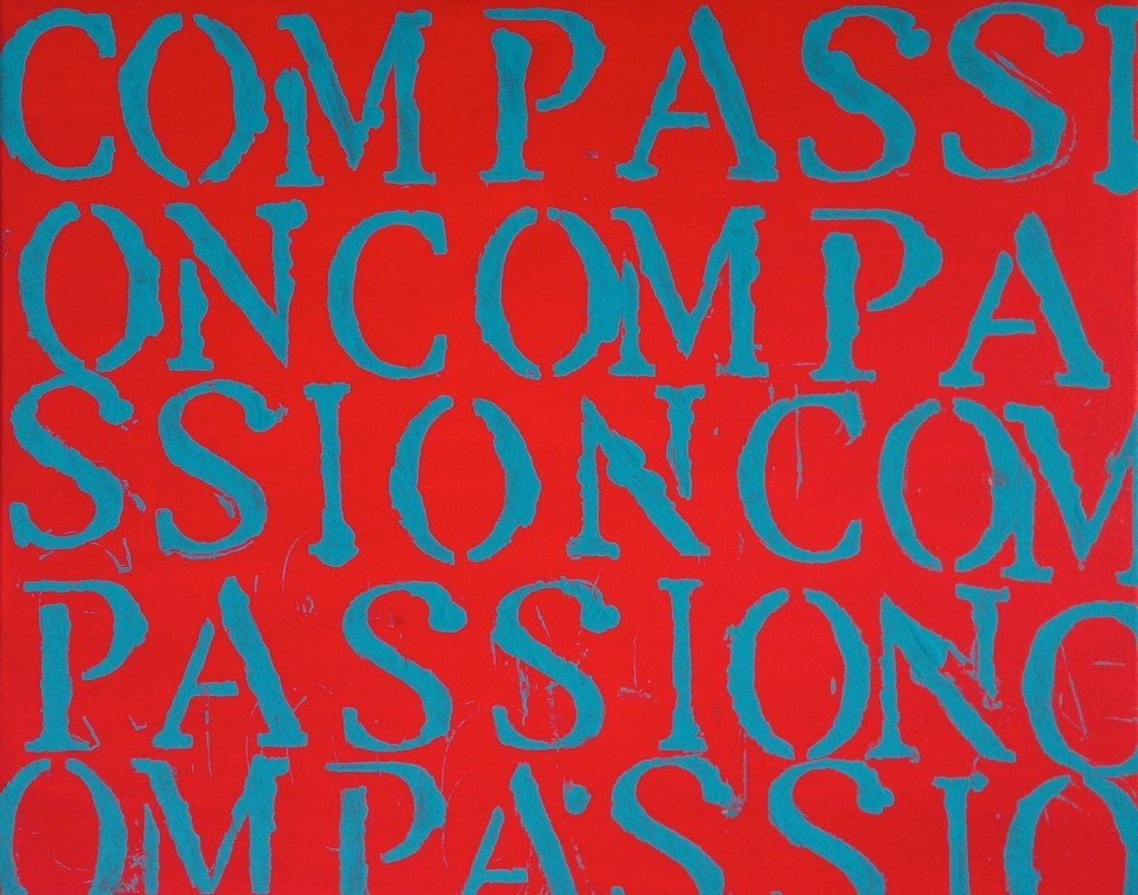 red and blue compassion installation painting - The Book of Compassion series By John Schlimm
