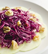 Reveling Red Cabbage, Apple and Walnut Salad